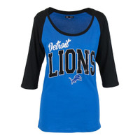 Detroit Lions Women's NFL Team Apparel 3/4 Length Sleeve Shirt with Sequins