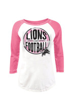 Detroit Lions Women's NFL Team Apparel 3/4 Length Sleeve Pink & White Shirt