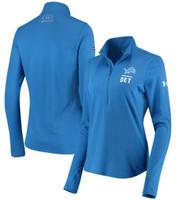 Detroit Lions Women's Under Armour Blue Combine 1/4 Zip Long Sleeve