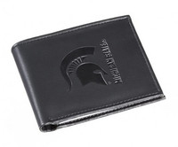 Michigan State University My Evergreen Black BiFold Leather Wallet