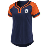 Detroit Tigers Women's Majestic Navy/Orange League Cool Base T-Shirt
