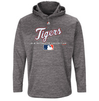 Detroit Tigers Men's Majestic Graphite Authentic Collection Team Drive Ultra-Streak Fleece Pullover Hoodie