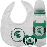 Michigan State University Infant 3-Piece Pacifier, Bib & Bottle Gift Set