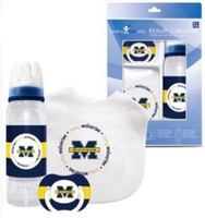 University of Michigan Infant 3-Piece Pacifier, Bib & Bottle Gift Set