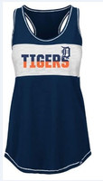 Detroit Tigers Women's Majestic Navy Game Time Glitz Tank Top