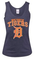 Detroit Tigers Women's 5th & Ocean Blue Tank Top with Reflective Logo