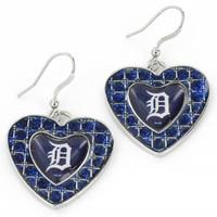 Detroit Tigers Aminco International Blue Glitter Stone Heart Earrings