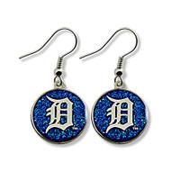 Detroit Tigers Aminco International Dangle Blue Glitter Circle Earrings