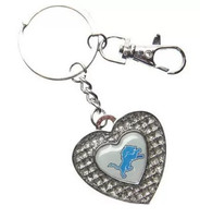 Detroit Lions Aminco International Glitter Heart Key Ring Keychain