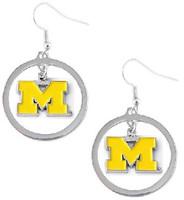 University of Michigan Aminco International Dangle Logo Hoop Earrings