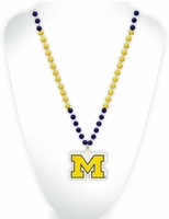 University of Michigan Rico Industries Mardi Gras Beads with Medallion Necklace
