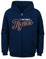 Detroit Tigers Child Outerstuff Navy Wordmark Full-Zip Hoodie