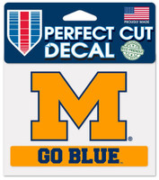 "University of Michigan Wincraft ""Go Blue"" Perfect Cut 4""x5"" Decal"