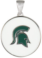 Michigan State University Teagan Collection by persona Green Spartan Head/White Pendant
