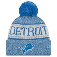 Detroit Lions Men's New Era Blue 2018 NFL Sideline Cold Weather Official Sport Knit Hat