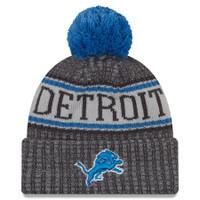 Detroit Lions Men's New Era Graphite 2018 NFL Sideline Cold Weather Official Sport Knit Hat