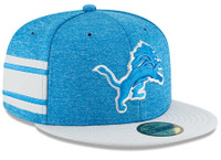 Detroit Lions Men's New Era Blue/Grey 2018 NFL Sideline Home Official 59FIFTY Fitted Hat