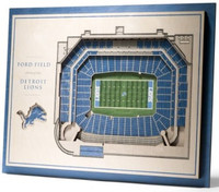 Detroit Lions YouTheFan 5-Layer Stadiumview 3D Wall Art - Ford Field