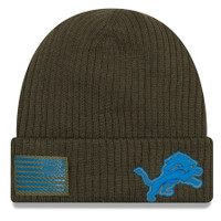 Detroit Lions New Era Olive 2018 Salute to Service Sideline Cuffed Knit Hat