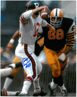 Angelo Mosca Autographed Hamilton Tiger-Cats 8x10 Photo #2 - Rushing the Passer