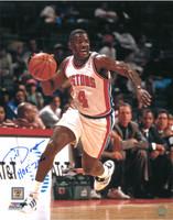 Joe Dumars Autographed Detroit Pistons 16x20 Photo #3 - Dribbling (HOF 2006 Inscription)