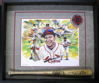 Stan Musial Framed Giclee & Autographed Game Model Bat