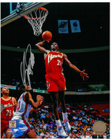 Dominique Wilkins Autographed Atlanta Hawks 8x10 Photo #4 - Dunking on New Jersey