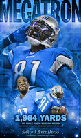 """Megatron"" Calvin Johnson Receiving Record Free Press Poster"