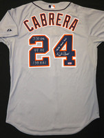 "Miguel Cabrera Autographed Detroit Tigers Road Authentic Cool Base Jersey - ""Triple Crown 2012"" and ""330 AVG, 44 HR, 139 RBI"" Inscriptions"