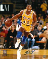 Magic Johnson Autographed LA Lakers 16x20 Photo #4 - Dribbling Upcourt