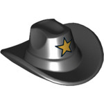 Lego Sheriff Hat (Black With Gold Star)