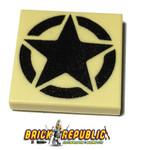 Custom Printed LEGO 2X2 Tile - U.S Army Star