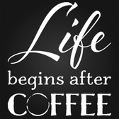LIFE BEGINS AFTER COFFEE vinyl wall sticker kitchen cafe
