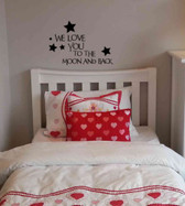 WE LOVE YOU TO THE MOON & BACK vinyl wall sticker words saying nursery child