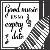 GOOD MUSIC HAS NO EXPIRY DATE vinyl sticker saying words for wall or tile