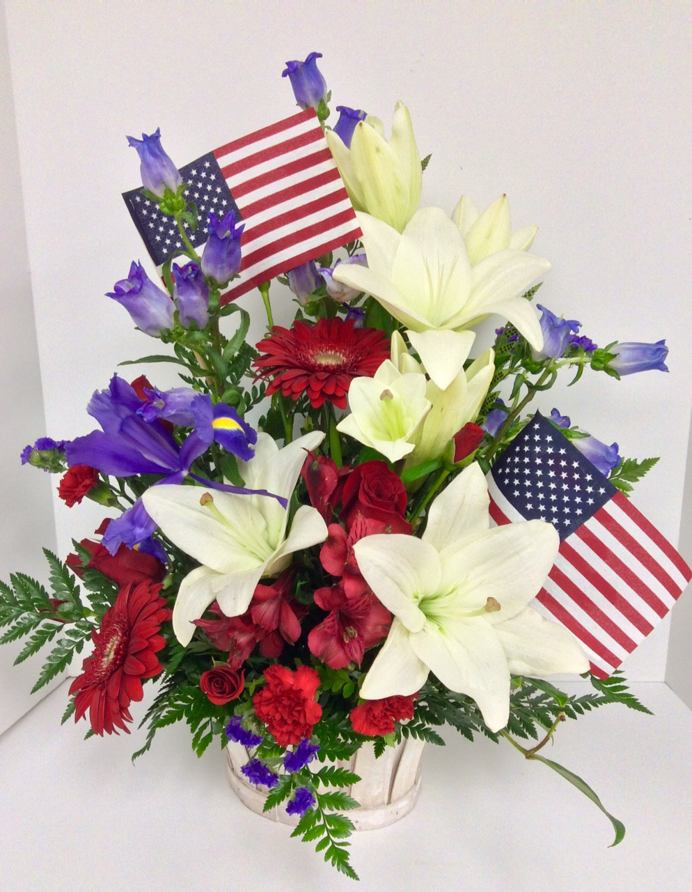 Red, White, and Blue Fresh Basket Arrangement - Centerville Florists