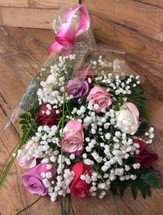 Dozen Mixed Colored Premium Ecuadorean Roses wWapped with greenery and filler