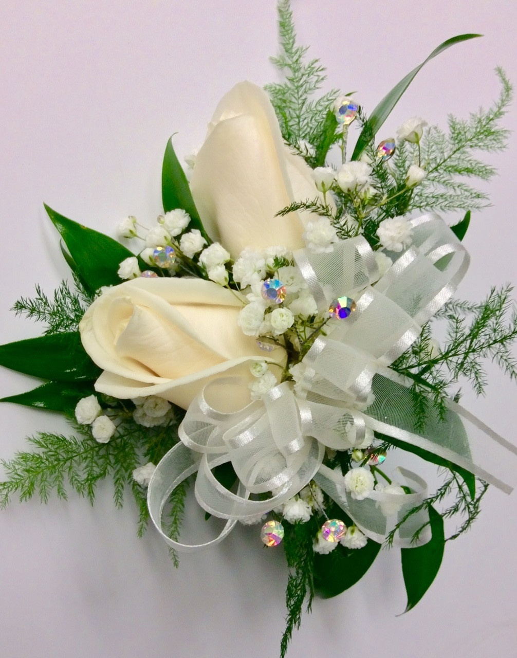 2 Bloom Standard Size White Rose Wrist Corsage - Centerville Florists