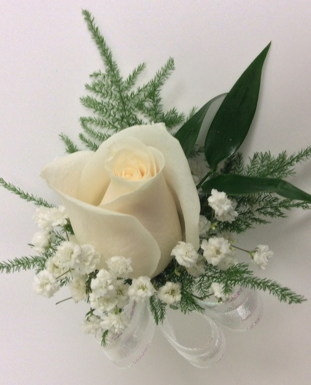 White Rose Boutonnire With Greenery Ribbon Centerville Florists