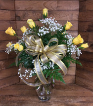 Dozen Premium Longstemmed Yellow Roses Arranged