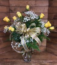 Dozen Premium Longstemmed Yellow Roses Arranged
