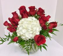 Hydrangea and rose garden bowl