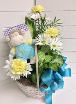 Baby boy planter with plush rattle