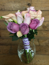 Pastel Calla, Rose, and Spray Rose Hand-Tied Bouquet