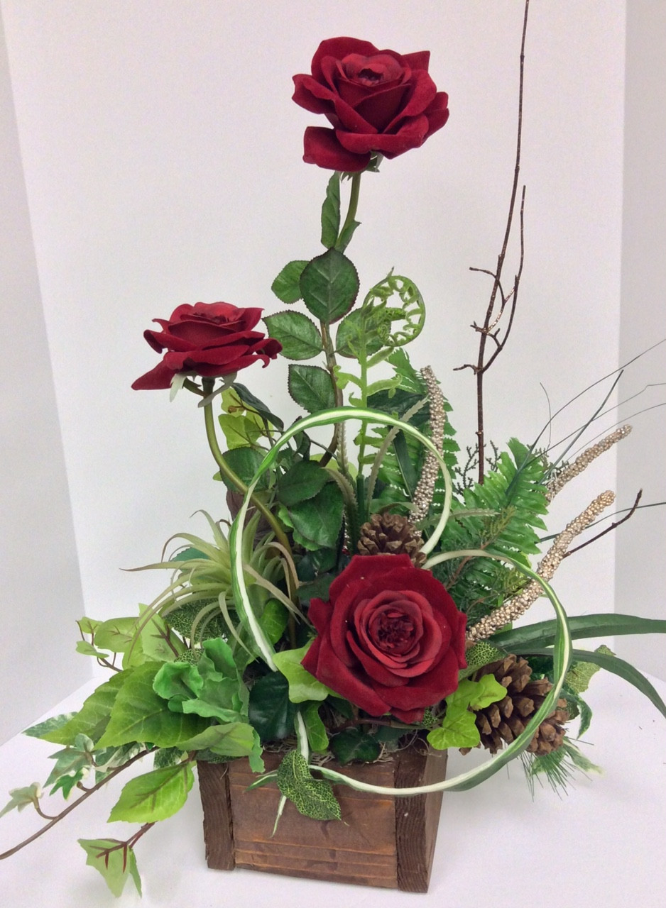 Silk Red Roses And Birch Branches Wooden Box Centerville Florists