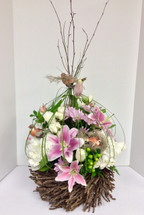 Large Fresh Birdcage Arrangement with Hydrangea and lilies
