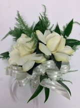 Double Bloom Gardenia Corsage with fresh greenery