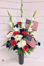 Patriotic Fresh Vase for a grave with flags