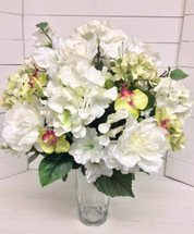 Round and Full Silk Flower Vase Arrangement in Shades of Creams, Whites, and Greens