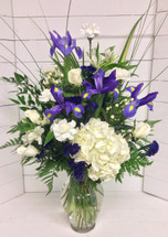 Blue and White Garden Berry Vase Arrangement